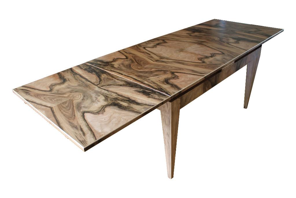 table de salle manger en ronce de noyer lo c kerisel b niste. Black Bedroom Furniture Sets. Home Design Ideas