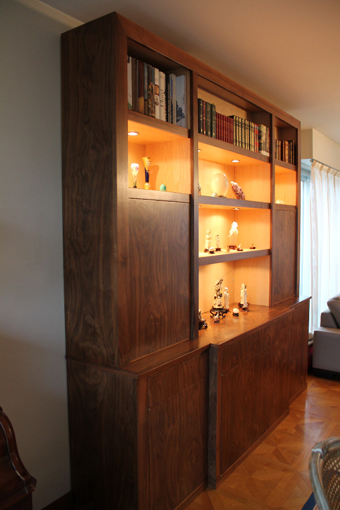 bookcase without ties in walnut lo c kerisel cabinetmaker. Black Bedroom Furniture Sets. Home Design Ideas